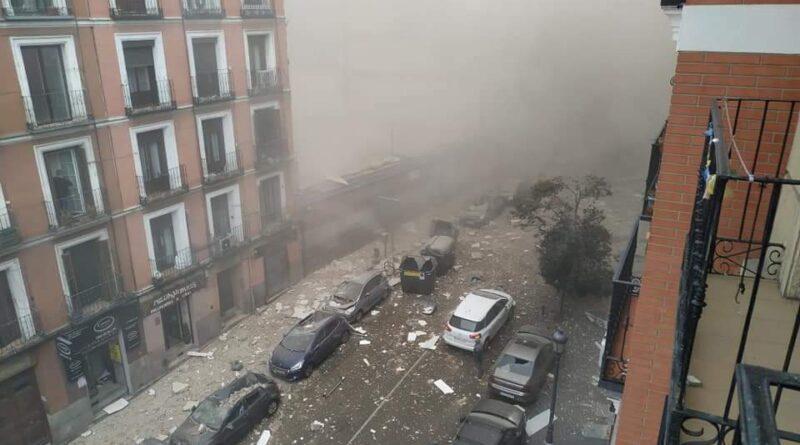 Explosión destruye edificio en Madrid